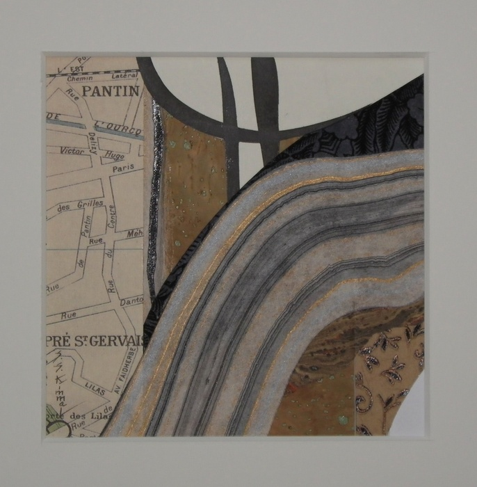 Susan Kimmel,  Paris , 2015  Mixed media collage  8,125 x 8.125 in.  $300