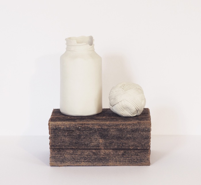Margaret Kinkeade,  Souvenirs No. 3 , 2014  Porcelain and found wood  7 x 8 x 6 in.  $275