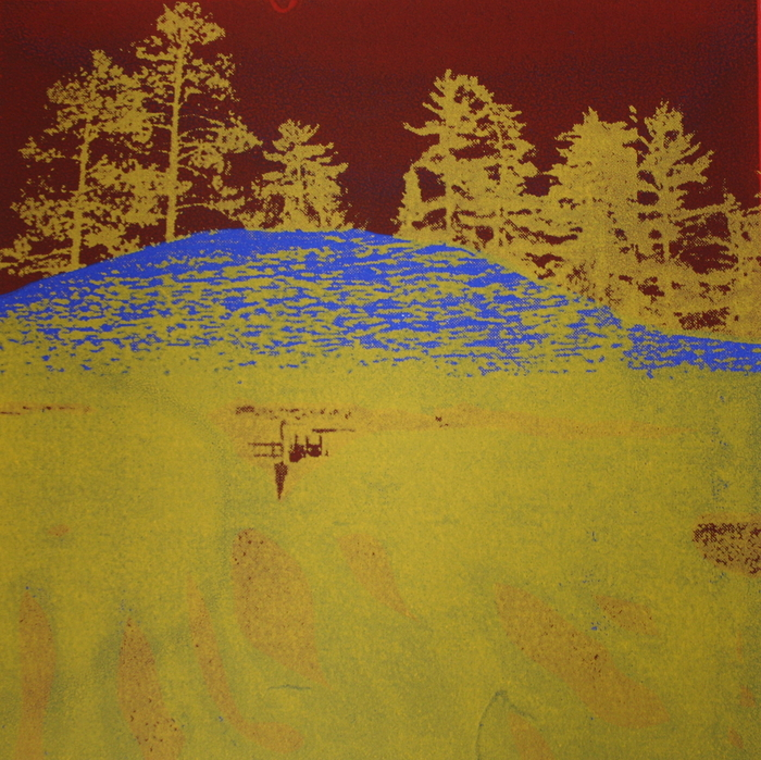 Karen Klee-Atlin,  Yellow Island , 2012  Silkscreen  7 x 7 in.  $125