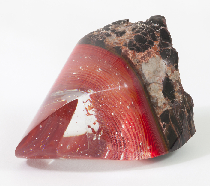 Weston Lambert,  Pocket Sculpture 7 , 2015  Glass and petrified wood  5 x 6 x 5 in.  $450