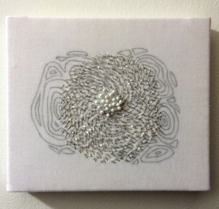 Kirsten Lund,  Bubbling Up , 2015  Embroidered cotton  6 x 7 x .75 in.  $300