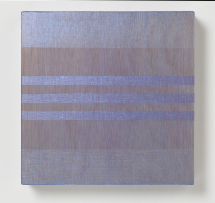 Rose Olson,  Parallel Purple , 2014  Acrylic on maple  10 x 10 x 2 in.  $750