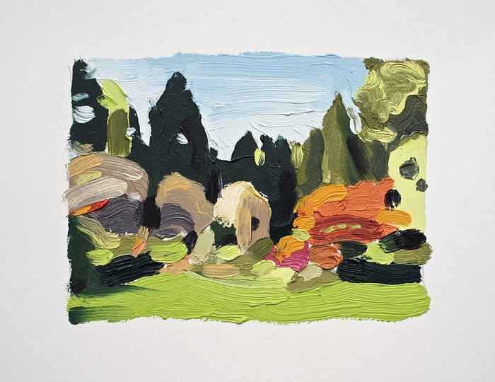 David Ryan,  Landscape (Arboretum #13) , 2013  Oil on Arches oil paper  8 x 10 in.  $320