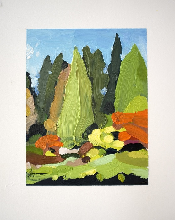 David Ryan,  Landscape (Arboretum #15) , 2013  Oil on Arches oil paper  10 x 8 in.