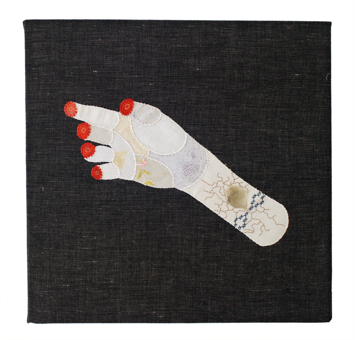 Sarah Trahan,  Hand Study , 2015  Fabric, embroidery  10 x 10 x .75 in.  $225