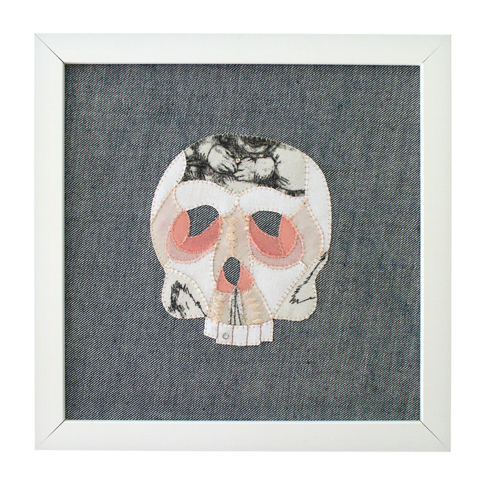 Sarah Trahan,  Skull (2) , 2015  Found fabric, embroidery, rhinestones  10 x 10 x 1.75 in.  $225