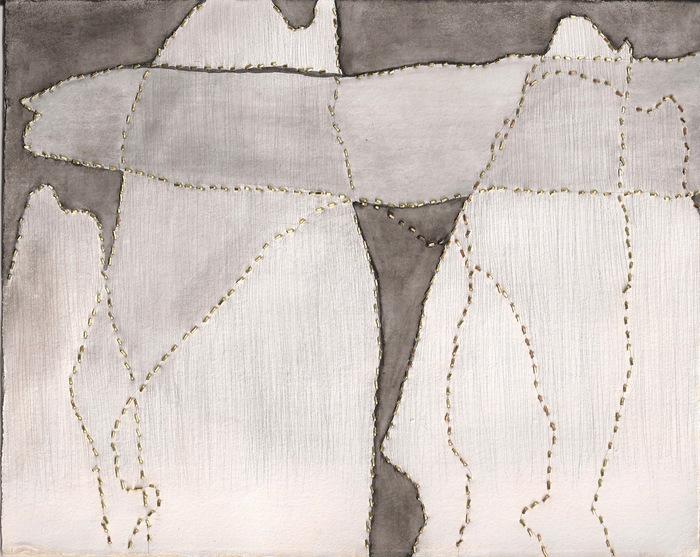 Melissa Walter, people iv , 2015  Brass, silverpoint, gouache  7.75 x 9.75 in.  $350