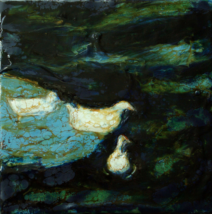 Evy Halvorsen Holstein   Paddling , 2012  Beeswax encaustic on board