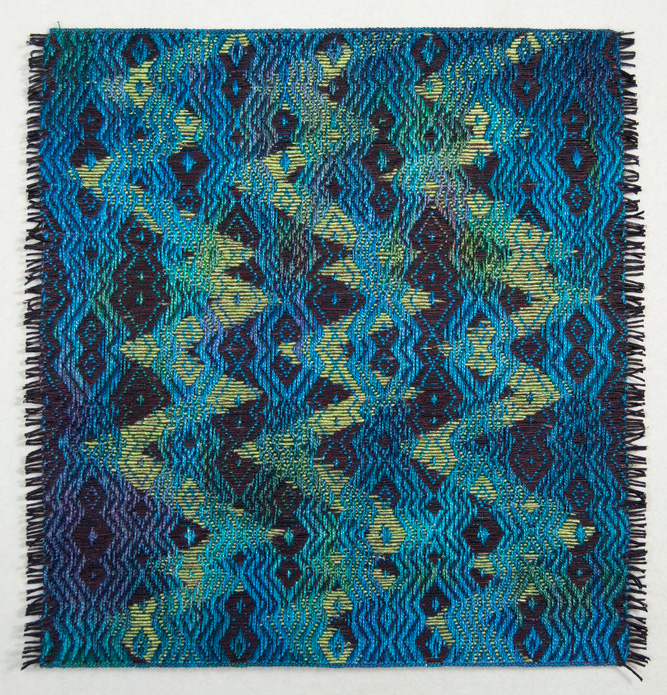 Janice Lessman-Moss      #427G Random Walk Series , 2013     Linen, paper, core, dye, ink, digital weaving