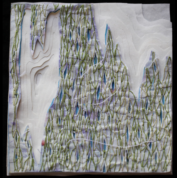 Jayne Pena      A Cold Wind Is Blowing In,  2012     Ink and thread on paper