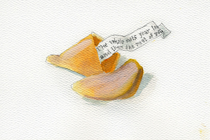 Jennifer Zwick      Fortune Cookie I , 2013     Watercolor and graphite on paper