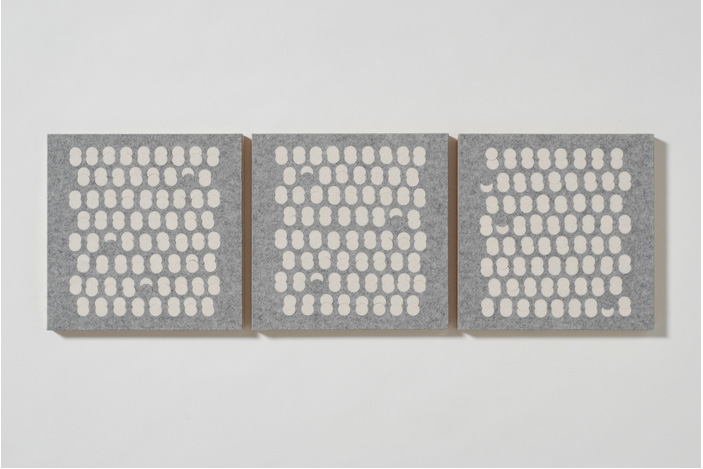 Meghan Urback      Felt Panels, White on Grey , 2012     Industrial wool felt, wood panel