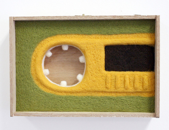 Moxie Lieberman      Icons & Totems & Pieces of the Past Series, No. 6 , 2011     Needle-felted wool mounted in a wooden box