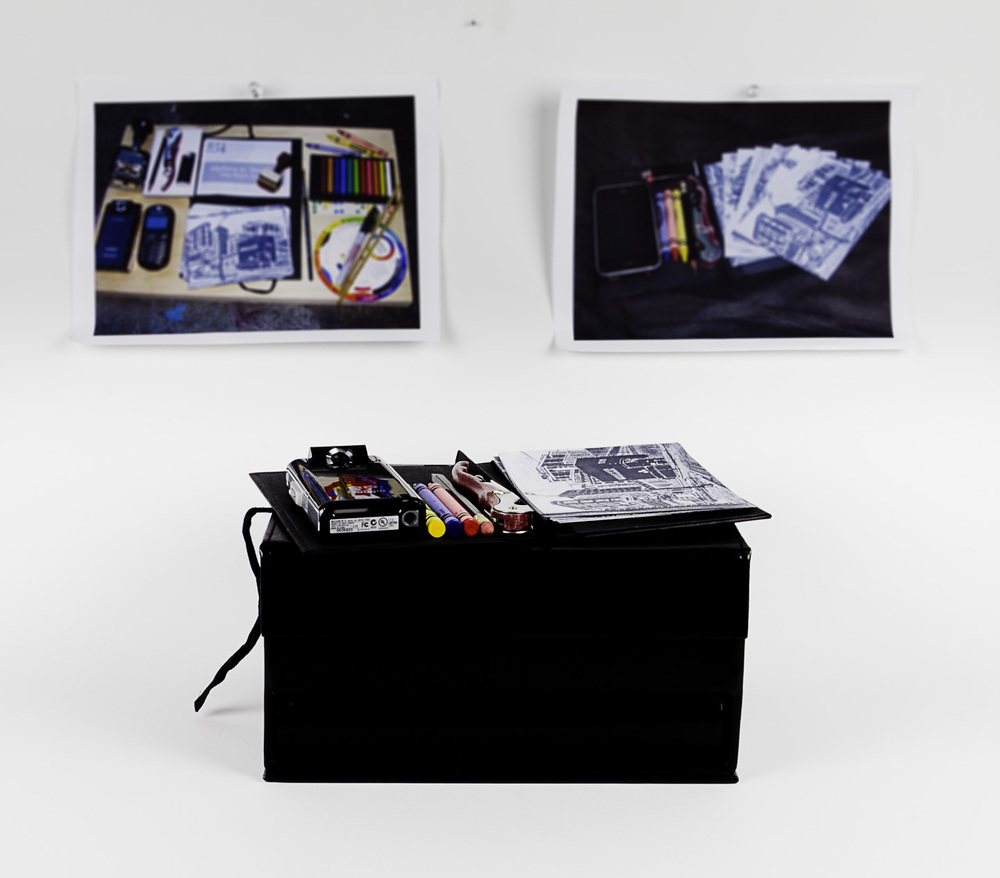 Andrew Buckles   Why Wait , 2011  Multimedia art kit: created and found objects assemblage, audio/video, digital inkjet prints, iPhone with streaming media player
