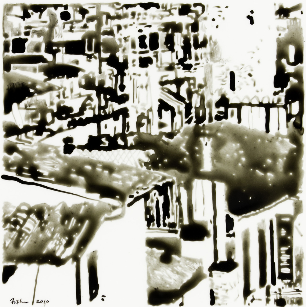 Bob Fisher   Florence Rooftops , 2011  Ink on Yupo