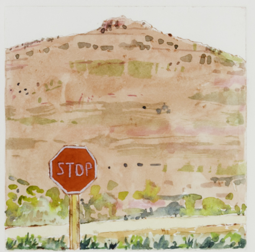 Cynthia Hibbard   Signage, Yakima Canyon , 2011  Drypoint with hand coloring