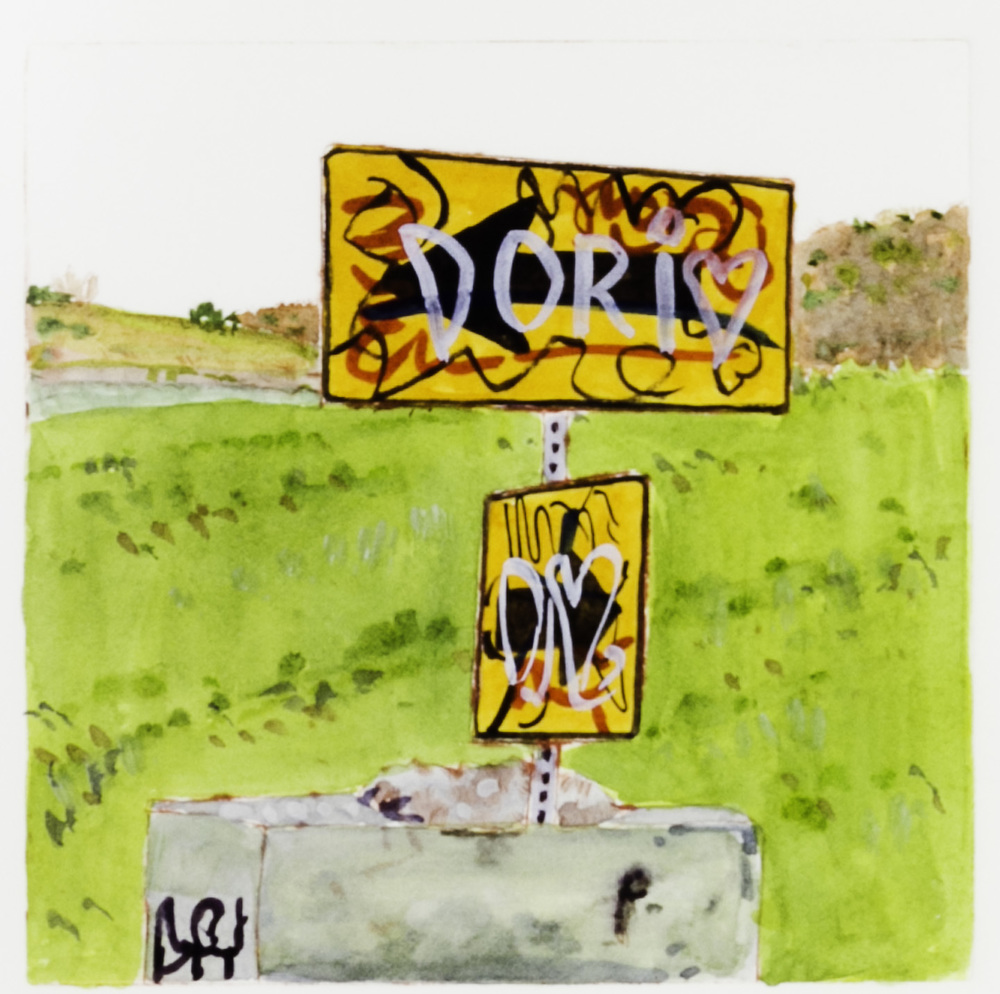 Cynthia HIbbard   Signage, Yakima Reservation , 2011  Drypoint with hand coloring