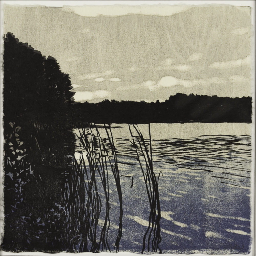 Eva Pietzcker   Evening Lake , 2010  Japanese woodblock print (mock hanga)