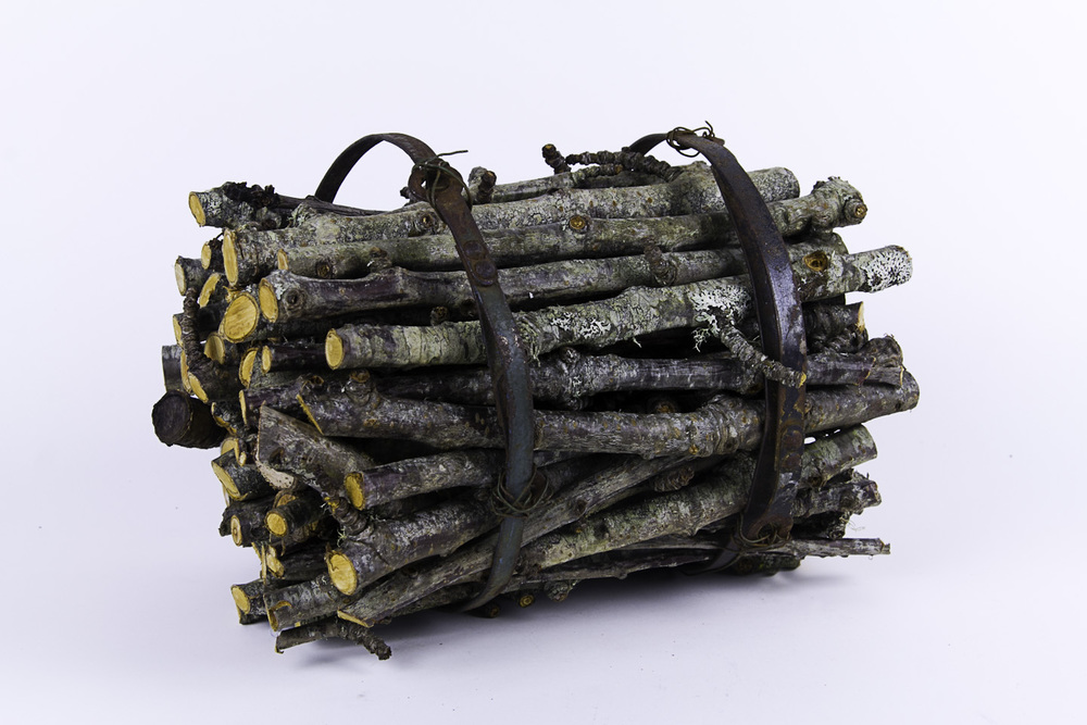 Helen Gamble   bundle , 2011  Apple wood and metal scraps