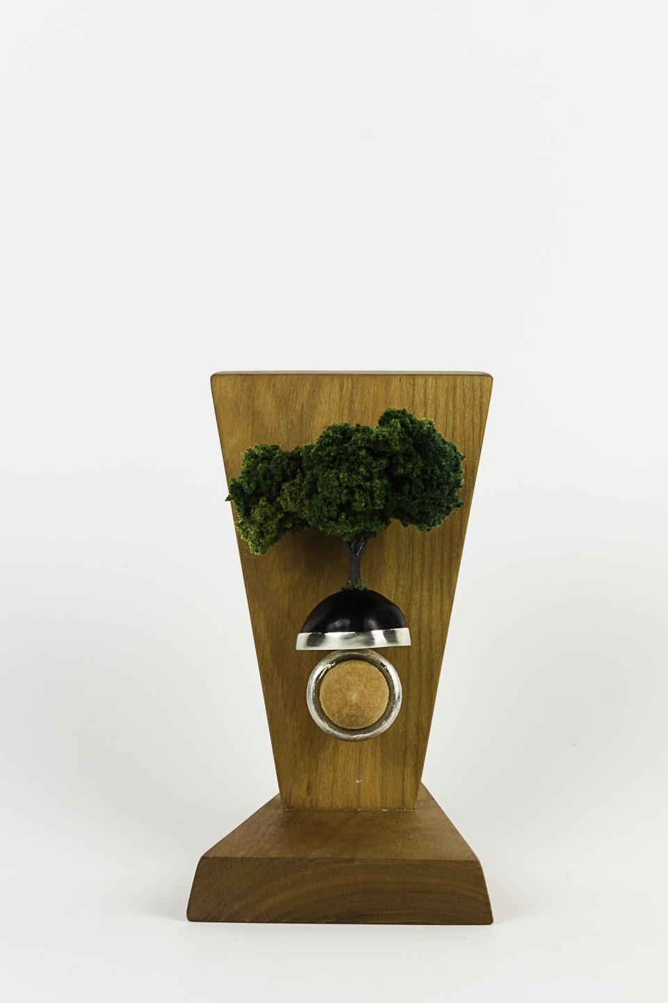 Sarah Hood   Oak Ring , 2011  Sterling silver, chestnut, model railroad materials, cherry wood stain