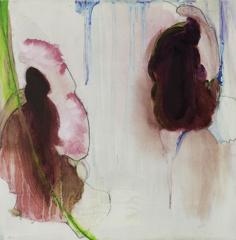 Stacy Rosevear   and so for him it began , 2011  Oil and charcoal on wood