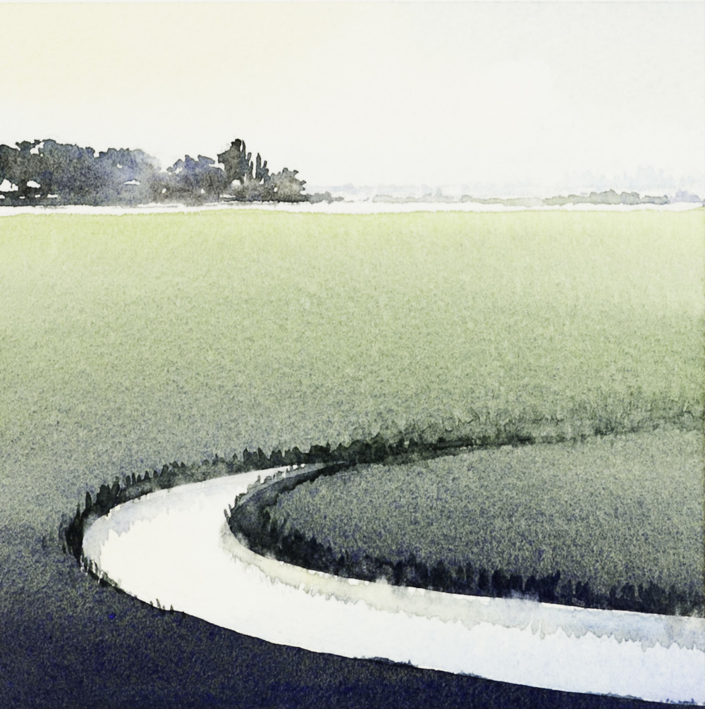 Stephanie Bower   fields from the train 1 , 2009  Watercolor on paper