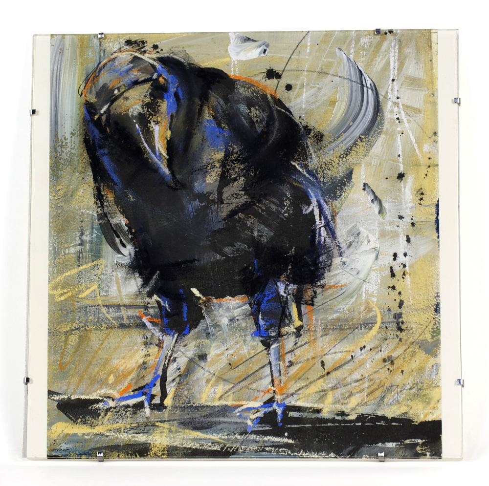 Anita Lehmann     That Bird,  2012  Sumi ink, pastel, gesso