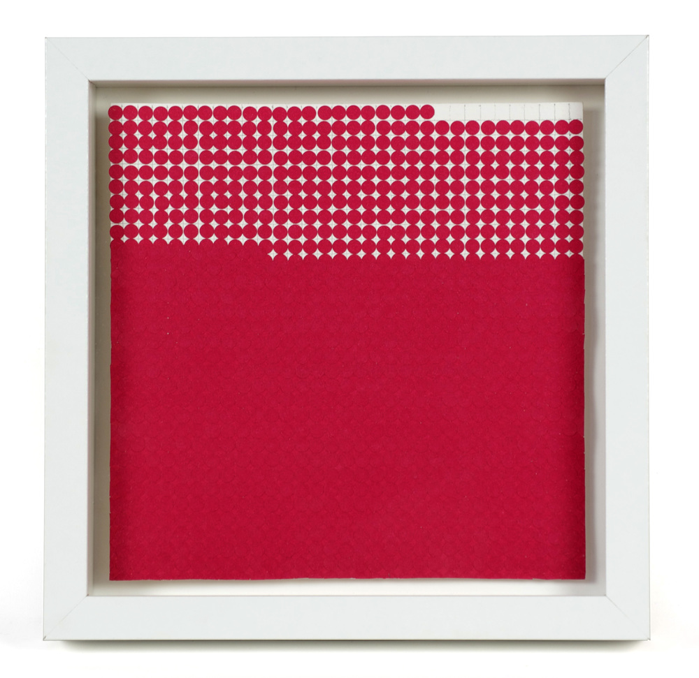 Gail Howard     Worth , 2012  Adhesive dot stickers, watercolor paper, graphite