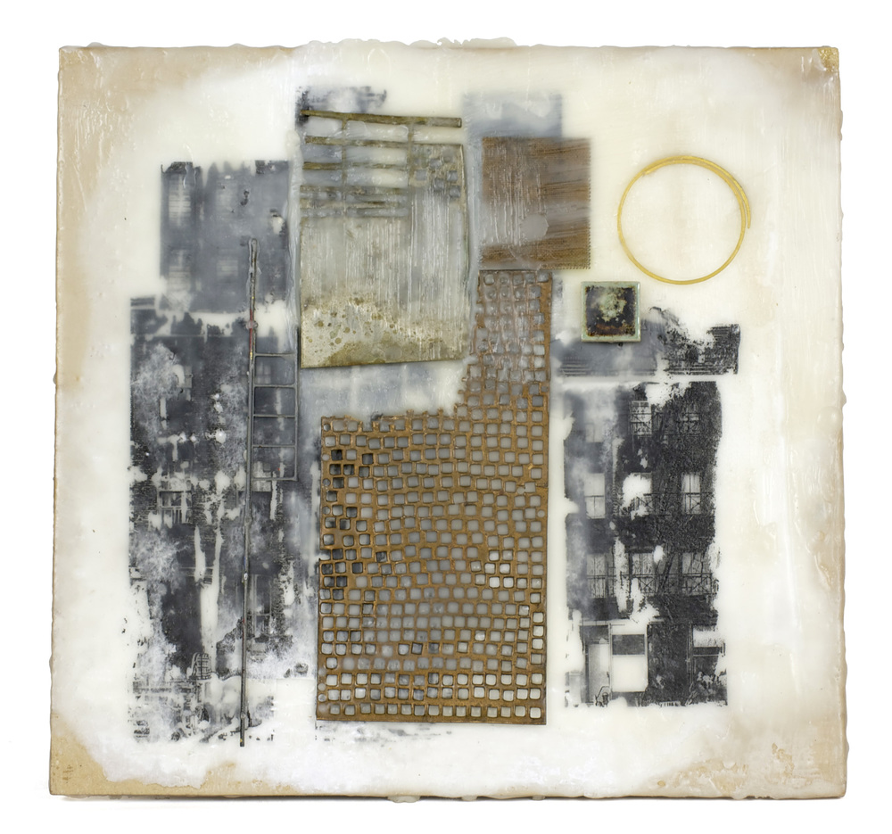 Karen Gjelsteen     The Alley , 2012  Encaustic collage, mixed media