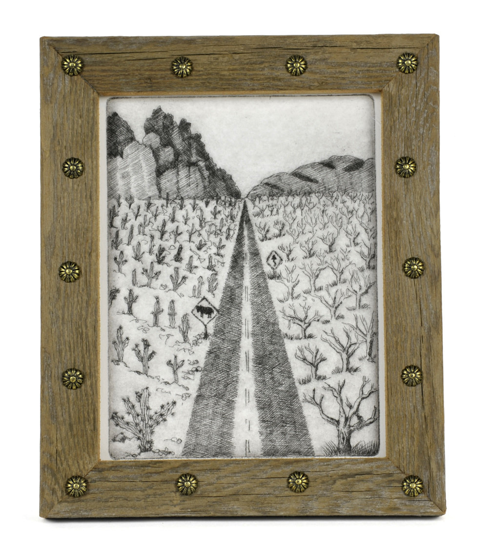 Karen Quint   Highway #1 Baja Sur/ North Tieton Road,  2012  Etching