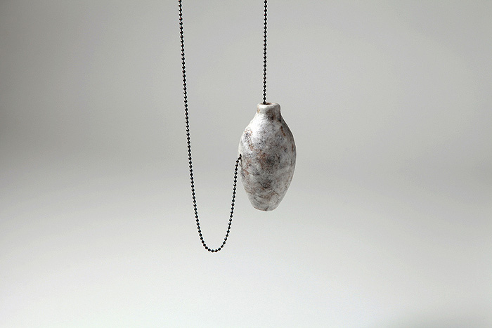 Sara Owens     Atomizer Bulb Study: Necklace   3  ,  2012  Coffee filters, sterling silver