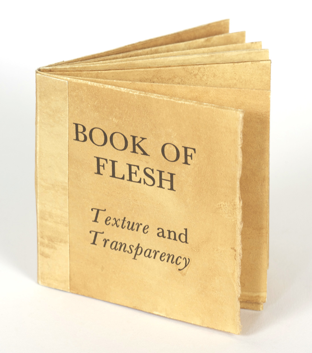 Skye Livingston     Book of Flesh , 2011  Paper, fruit and vegetable slices, letterpress printed