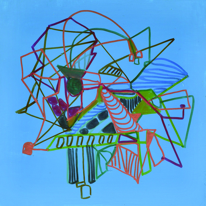 Carole D'Inverno      Alien Fancies  #7, 2014    Flashe vinyl paint, markers on board