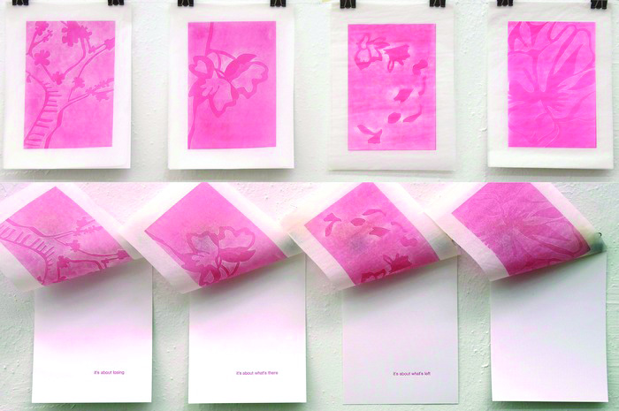 Marli LaGrone      Cherry Blossoms , 2012     Letter-press and pressure printing
