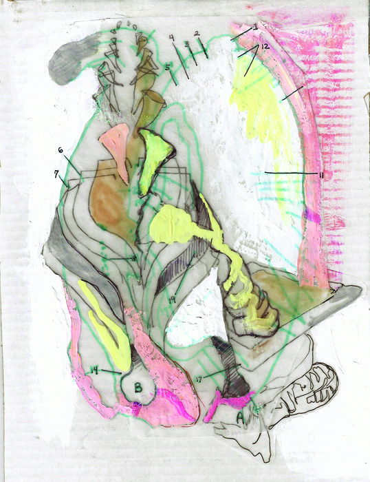 Stephanie Sherwood      Take Care to Learn , 2014     Mixed media on paper
