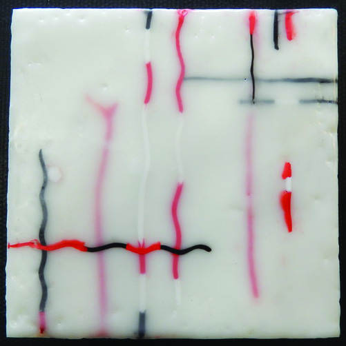 Joan Cawley Crane      Red/White , 2014     Encaustic
