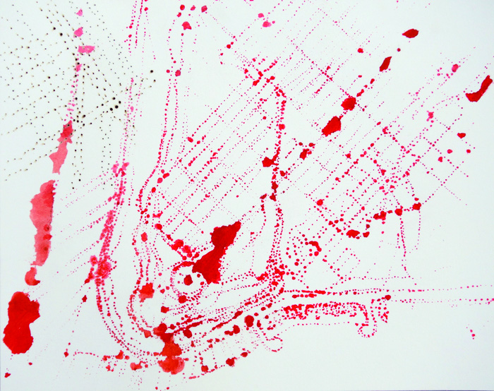 Ellen Ziegler      Vermilion Map #1 , 2014    Stenciled vermilion pigment, burned holes on paper