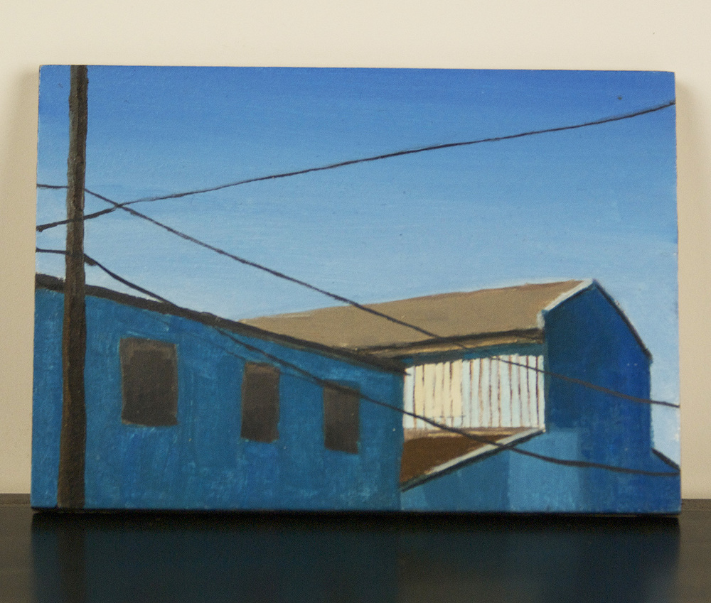Rachel Maxi   Blue Warehouse , 2009  Oil on board