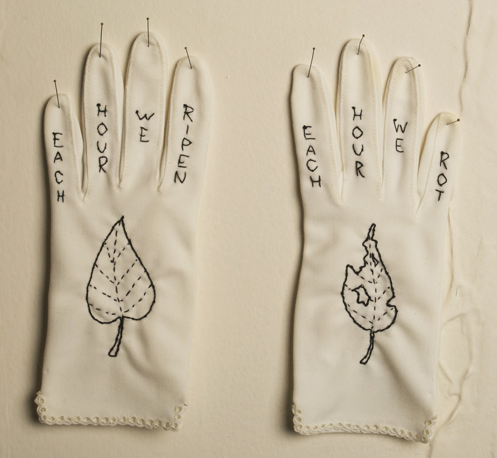 Mary M. Mazziotti   Memento Mori Gloves , 2010  Embroidered vintage textile