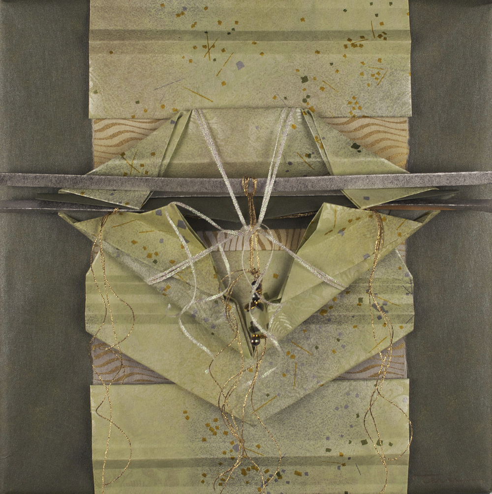 Terri Schaake   Beheld , 2010  Mixed media (folder papers, metallic threads, green pearls, metal charms and a Tourmaline bead)