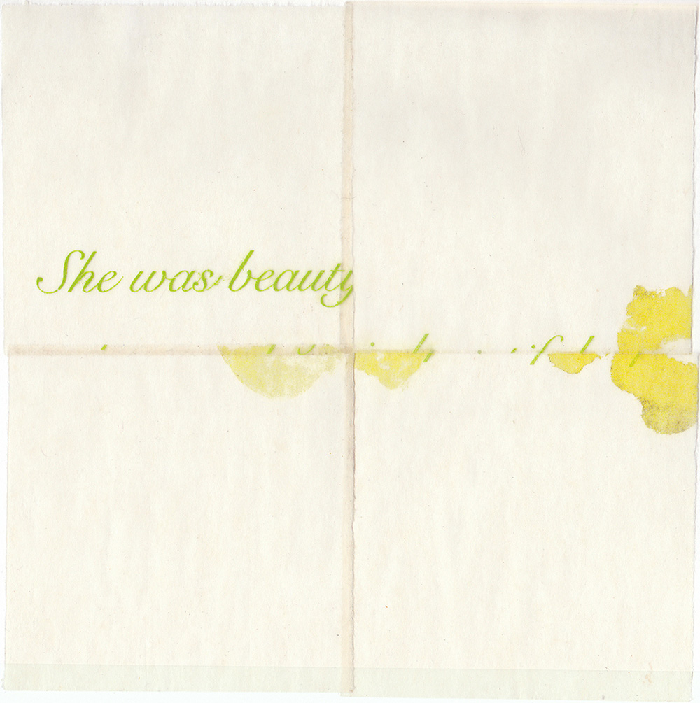 Sally Schuh   Was Beauty (Gertrude Stein Series),  2010  Lithograph, Japanese paper, and beeswax