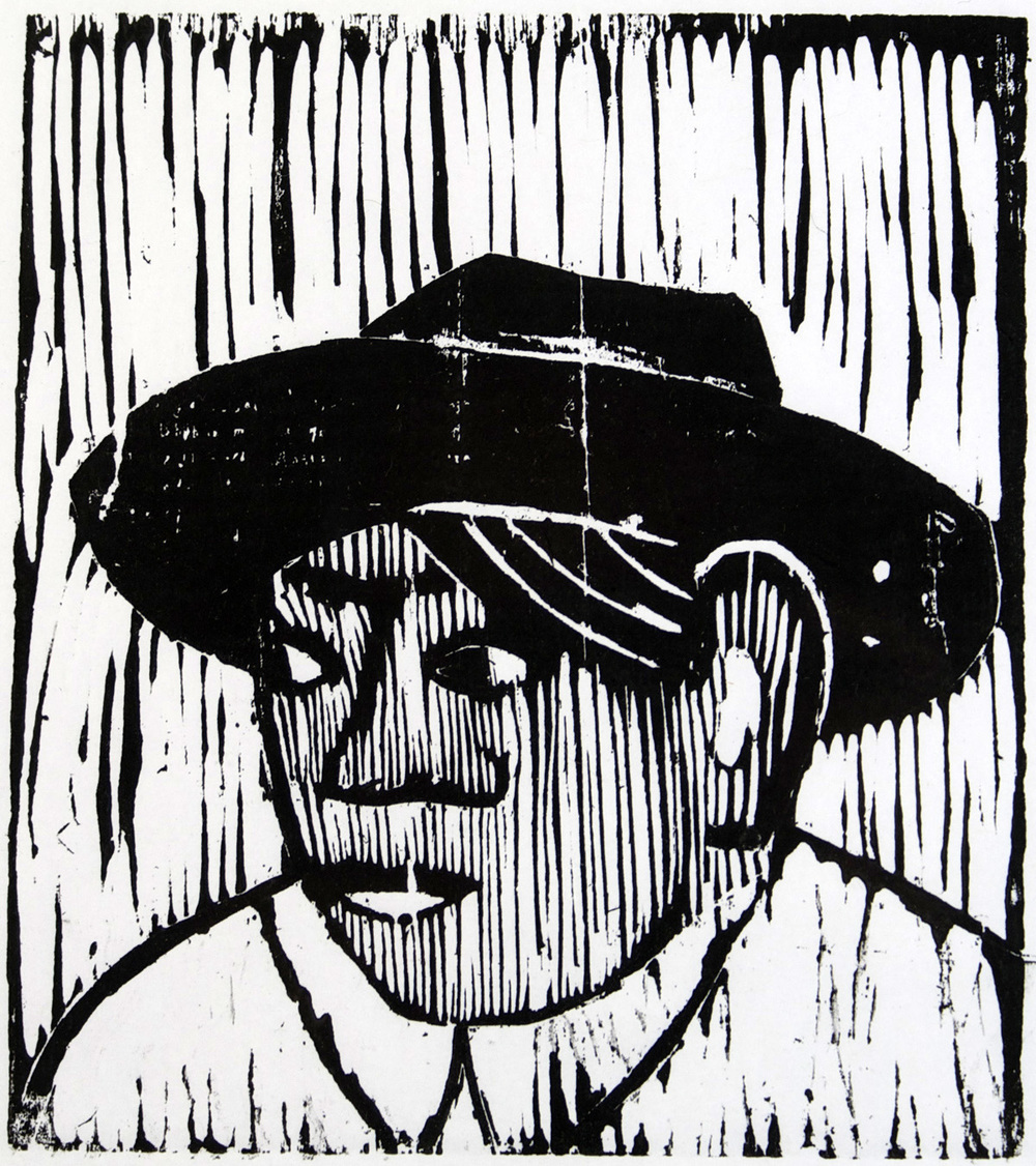 Jean Smith   Farm Worker , 2010  Woodcut print