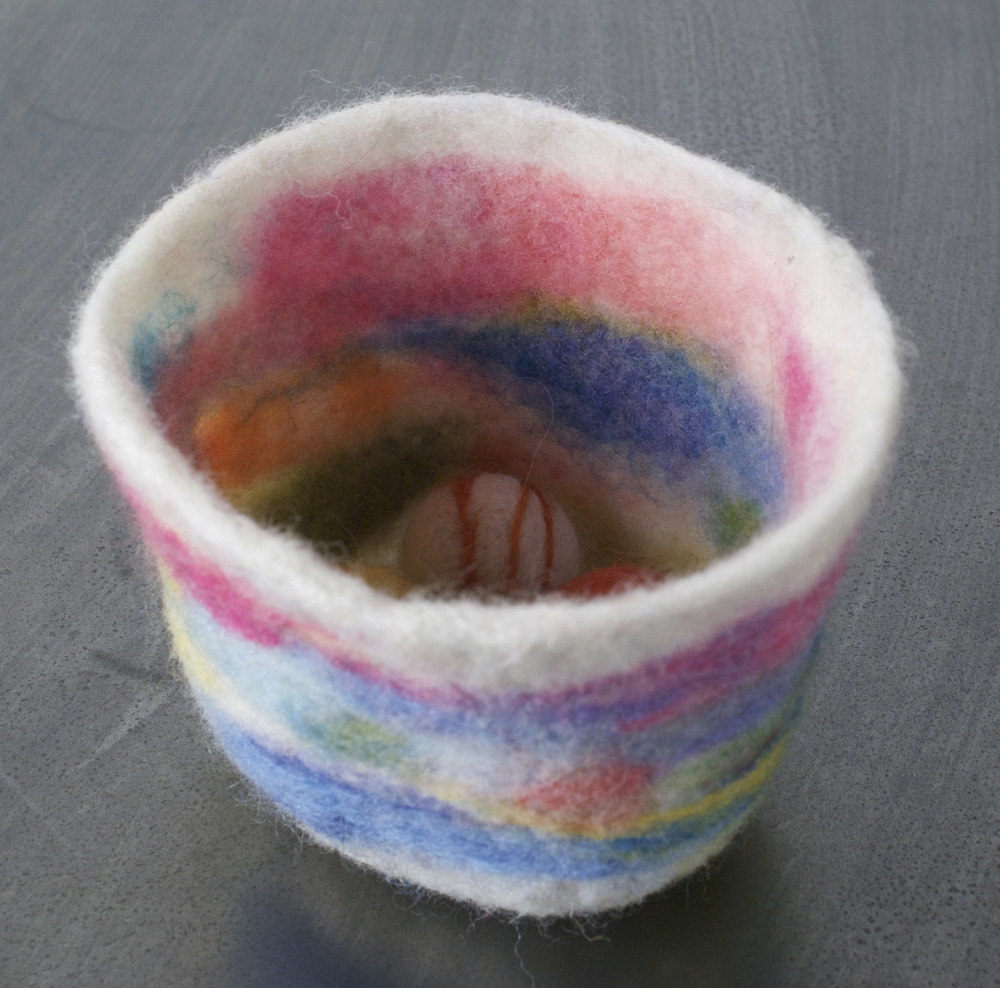 Diane Tchakirides   Sunset Bowl Balls , 2010  Felt (needle felted)