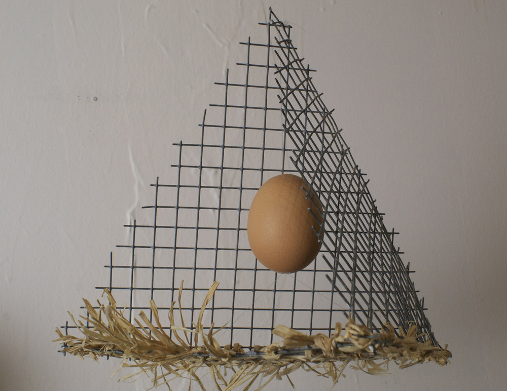 Carol Trenga   Egg Qua Equanimity , 2010  Wire mesh, chicken egg, raffia, and nylon thread