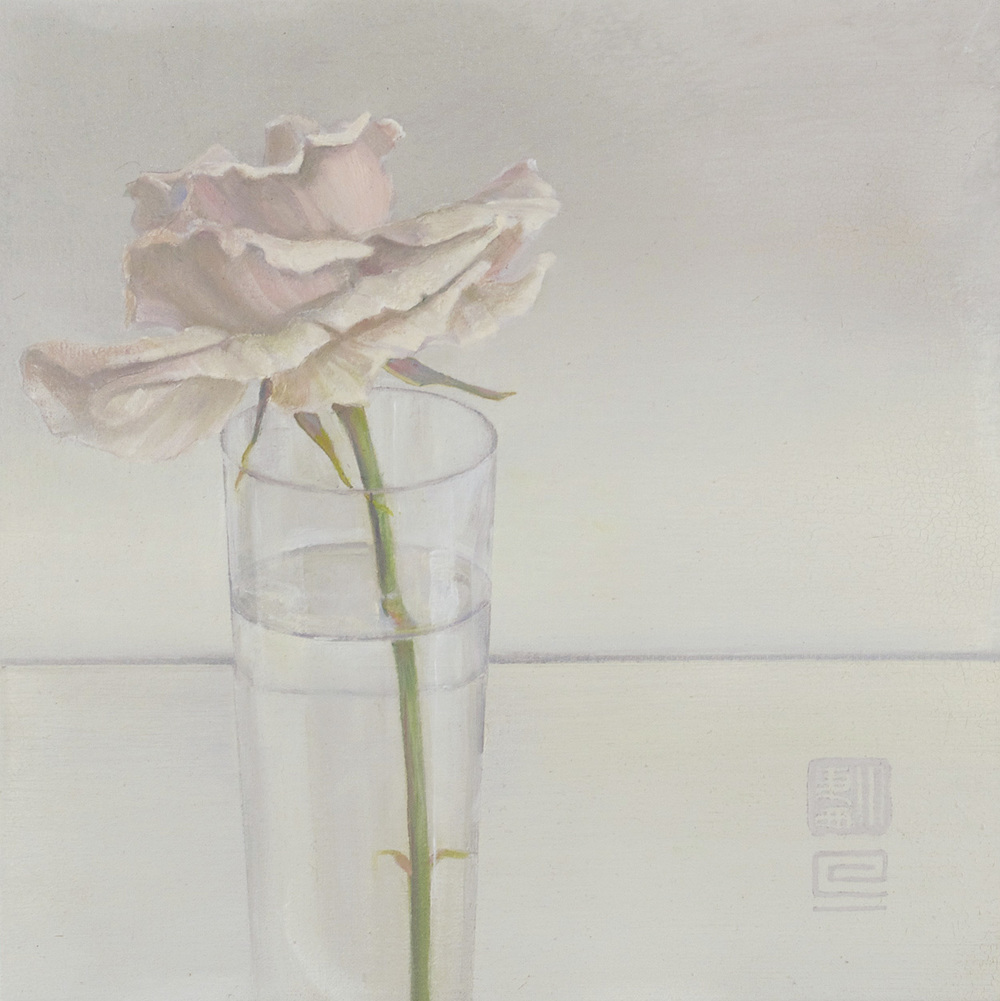 Sandra Westford   Pink Rose , 2010  Oil on fabric mounted on panel