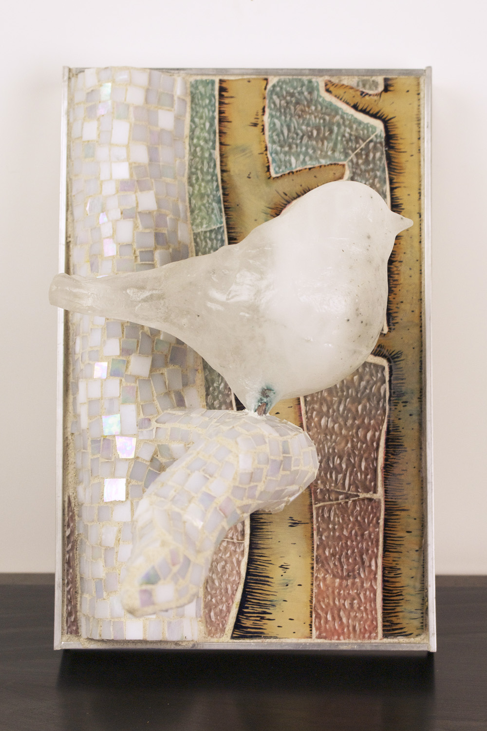 Katja Fritzsche   Back, Window , 2010  Cast glass bird, reverse oil painting on glass, mosaic