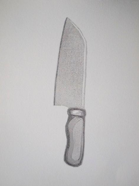 Kathryn Combs, Kitchen Blade , 2016.  reduction linoleum block print  8 x 8 in.  $125