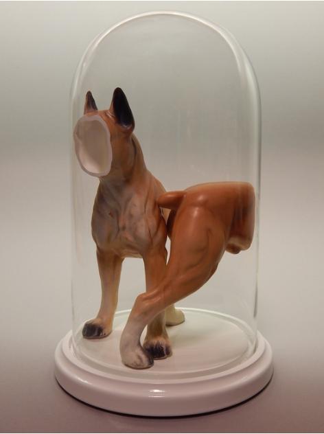 Kelsey Fernkopf, Goliath , 2016.  porcelain figure, glass dome, base  11 x 6.5 x 6.5 in.  $400