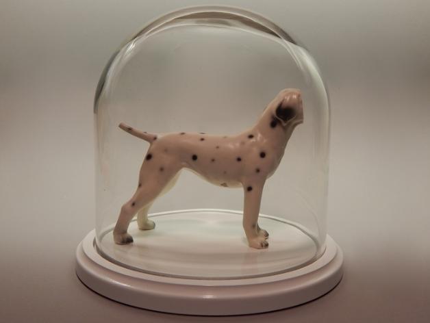 Kelsey Fernkopf, Laika , 2016.  porcelain figure, glass dome, base  9 x 9.5 x 9.5 in.  $400