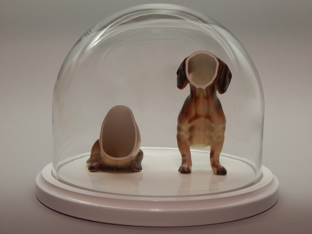 Kelsey Fernkopf,  Max , 2016.  porcelain figure, glass dome, base  9 x 9.5 x 9.5 in.  $400